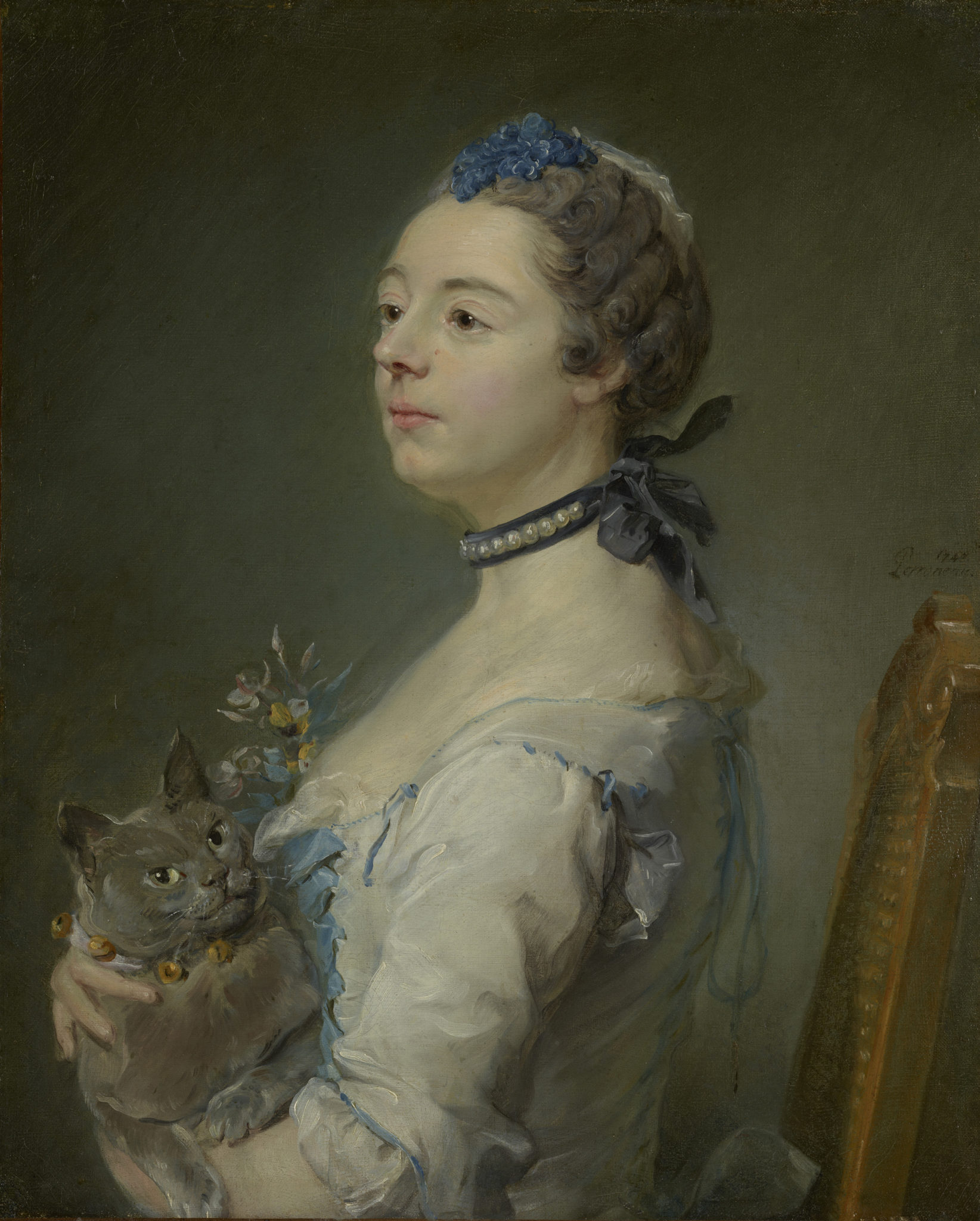 Magdaleine Pinceloup de la Grange e il suo gatto Certosino